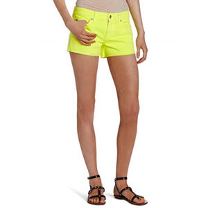 7 For All Mankind Cut Off Neon Citron Shorts NWOT